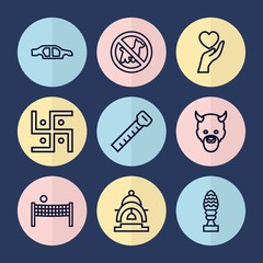 Set of 9 shape outline icons