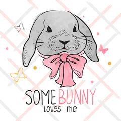 Cute watercolor bunny. Vector illustration for kids design.