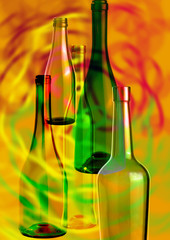 abstract composition of glass bottles_2