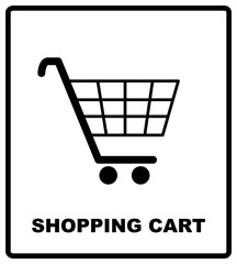 Shopping cart sign, vector illustration. Mandatory symbol isolated on white. Warning banner for public places. Simple flat style.