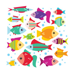 Vector set with the image of the fishes in flat design