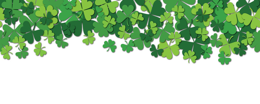 Happy Saint Patrick s day horizontal seamless pattern background with shamrock isolated on white.