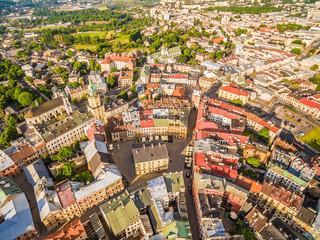 Lublin - widok z lotu ptaka. Panorama starego miasta.