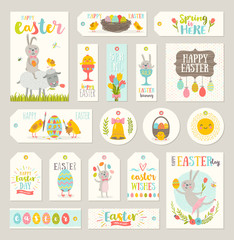 Set of Easter gift tags and labels with cute cartoon characters and type design .