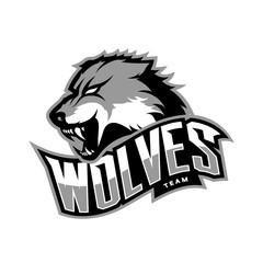 Furious wolf sport vector logo concept isolated on white background. Web infographic predator team pictogram.