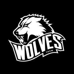 Furious wolf sport mono vector logo concept isolated on dark background. Web infographic predator team pictogram. Premium quality wild animal t-shirt tee print illustration.