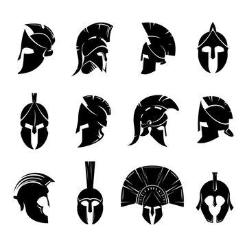 Spartan helmet vector set