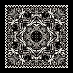 Black Bandana Print. Vector ornamental tile pattern with border and frame