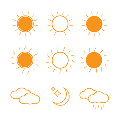 Suns collection on white background. illustration