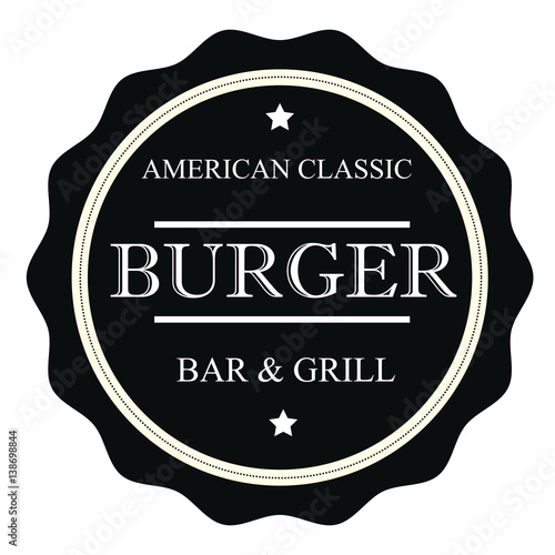 American classic burger bar grill stamp sign seal logo for American classic logo