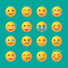 Emoticon set. Emoticon icons in flat style