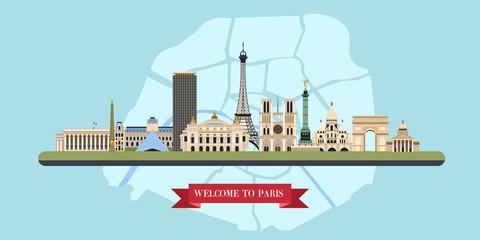 Paris. France. The famous sights.Vector illustration.
