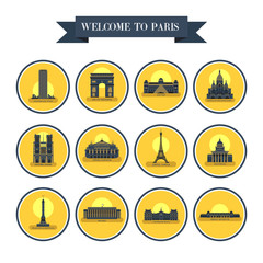 Sights Of Paris. France. Famous palaces and monuments. Architecture. Vector icons round shape.