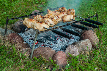 chicken kebab on skewers cooked on the coals from the fire on a simple device in field conditions