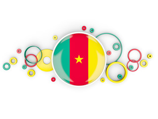 Round flag of cameroon with circles pattern