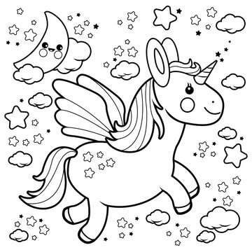 Cute unicorn flying in the night sky. Black and white coloring book page.