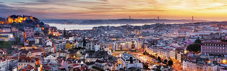 Panorama of Lisbon at night, Portugal Wall mural