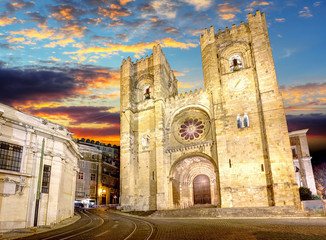 Cathedral of Lisbon at sunset, Portugal