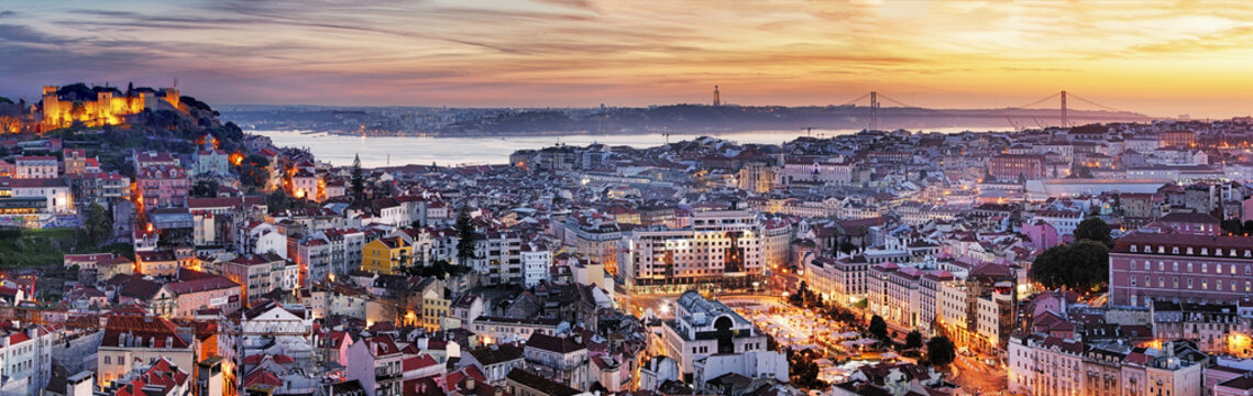 Panorama of Lisbon at night, Portugal
