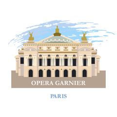 Opera Garnier in Paris. France. Vector illustration. Isolated on a white background.
