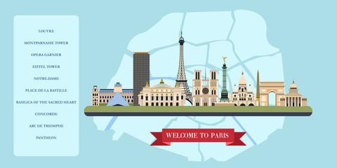 Paris. France. Vector illustration. The famous sights.
