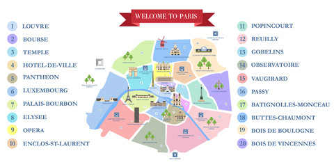 Vector detailed map of the city of Paris with its famous attractions and names.