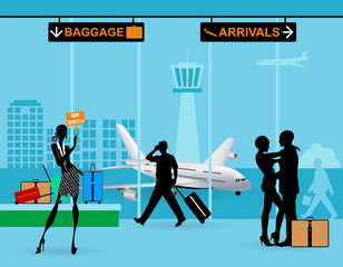 Airport arrival. The stewardess wait passengers. Embracing couple silhouettes. Suitcase, bag on train in airport terminal.