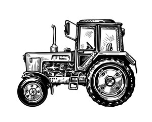 Hand-drawn farm truck tractor. Transport sketch vector illustration