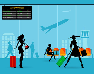 Airport passenger terminal and waiting room. International arrival and departures. Silhouette of beautiful stewardess