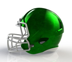 Green brushed galvanized american football helmet side view on a white background with detailed clipping path, 3D rendering