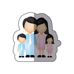 color family with their children icon, vector illustraction design