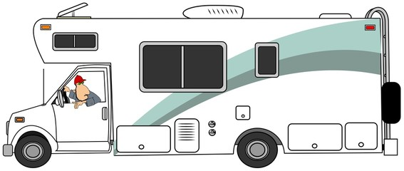 Illustration of a man backing up a class c motorhome.