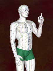 Acupuncture model M-POSE EHP-02-2, 3D illustration