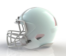 Shiny blue wax american football helmet side view on a white background with detailed clipping path, 3D rendering