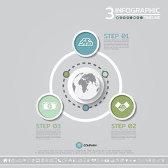 Vector geometric Infographics design template in 3 steps, options or processes for cycle diagram, graph, presentation and chart with icon set.