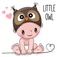 Cute Cartoon Baby boy in a Owl hat