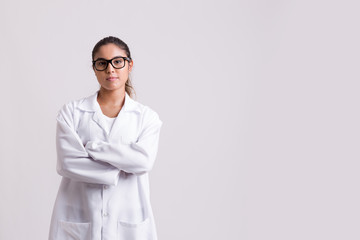Medicine, pharmacy, health care and pharmacology concept, woman on white uniform