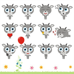 Big set cute little goat. Collection isolated cartoon goat in different poses.