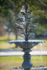 Water fountain in lush gardens of State Capitol complex in Austin, TX