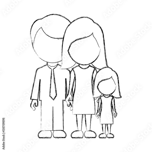 Figure family with their dougther icon vector illustraction design quo - Figure libre architecture ...