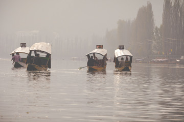 Lifestyle in Dal lake, local people use 'Shikara', a small boat for transportation in the lake of Srinagar, Jammu and Kashmir state, India.