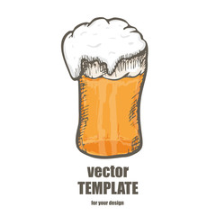 Vector beer. Glass with beer isolated on background