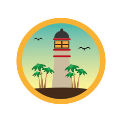 colorful circular frame with lighthouse and palm trees vector illustration
