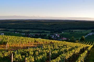 Zauberhafte Herbststimmung im Licht der letzten Sonnenstrahlen bei Eisenberg im Südburgenland (Totale)