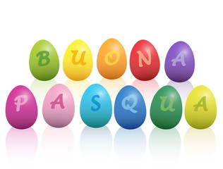 BUONA PASQUA - Happy Easter in italian language - written with colorful easter eggs. Isolated vector illustration on white background.
