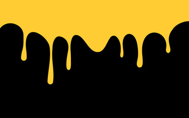 yellow paint drips. golden ink flow down. black background. vector illustration