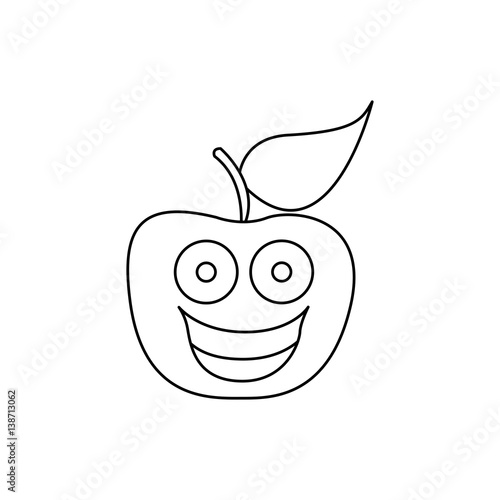 Figure kawaii fruit apple happy icon vector illustration design - Figure libre architecture ...