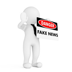 3d Person with Fake News Danger Sign in Hand. 3d Rendering