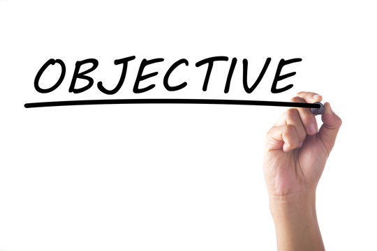 Hand writing OBJECTIVE on transparent board