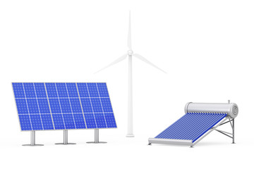 Blue Solar Panels, Windmills and Water Heater Panel. 3d Rendering